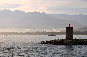 Morning mist in Calvi  harbor