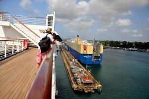 Cruise ships and cargo ships
